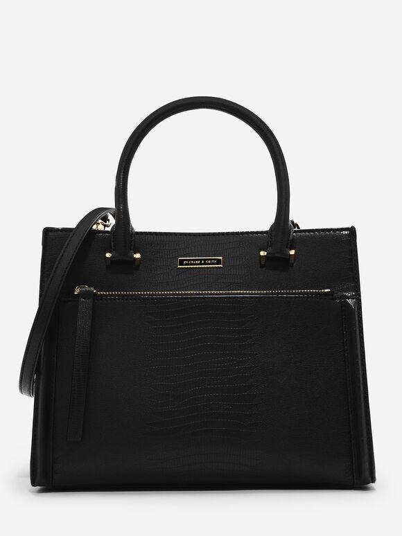 Front Zip Structured Bag, Black, hi-res