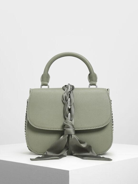 Braided Front Flap Bag, Sage Green, hi-res
