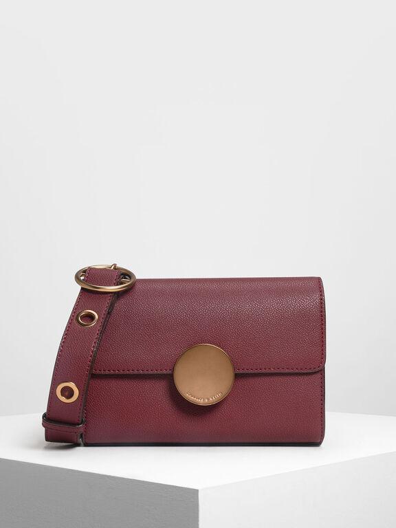 Circular Push Lock Crossbody Bag, Prune