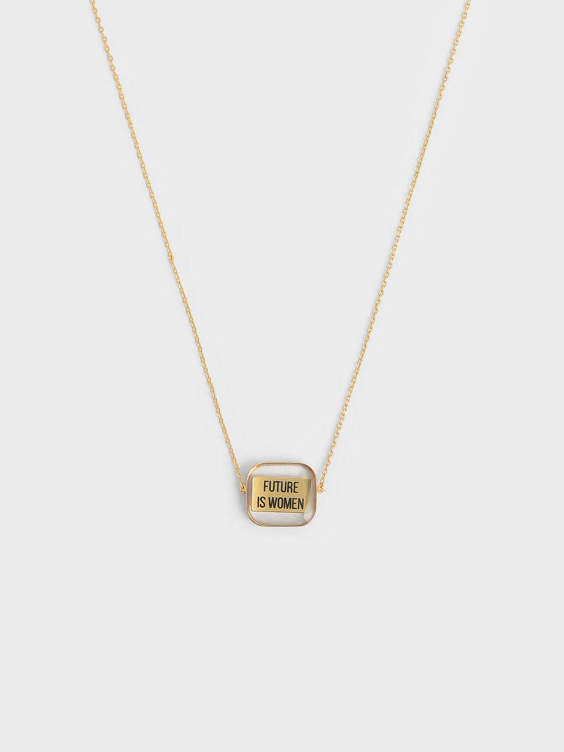 "FUTURE IS WOMEN"" Acrylic Necklace"", Bronze, hi-res"