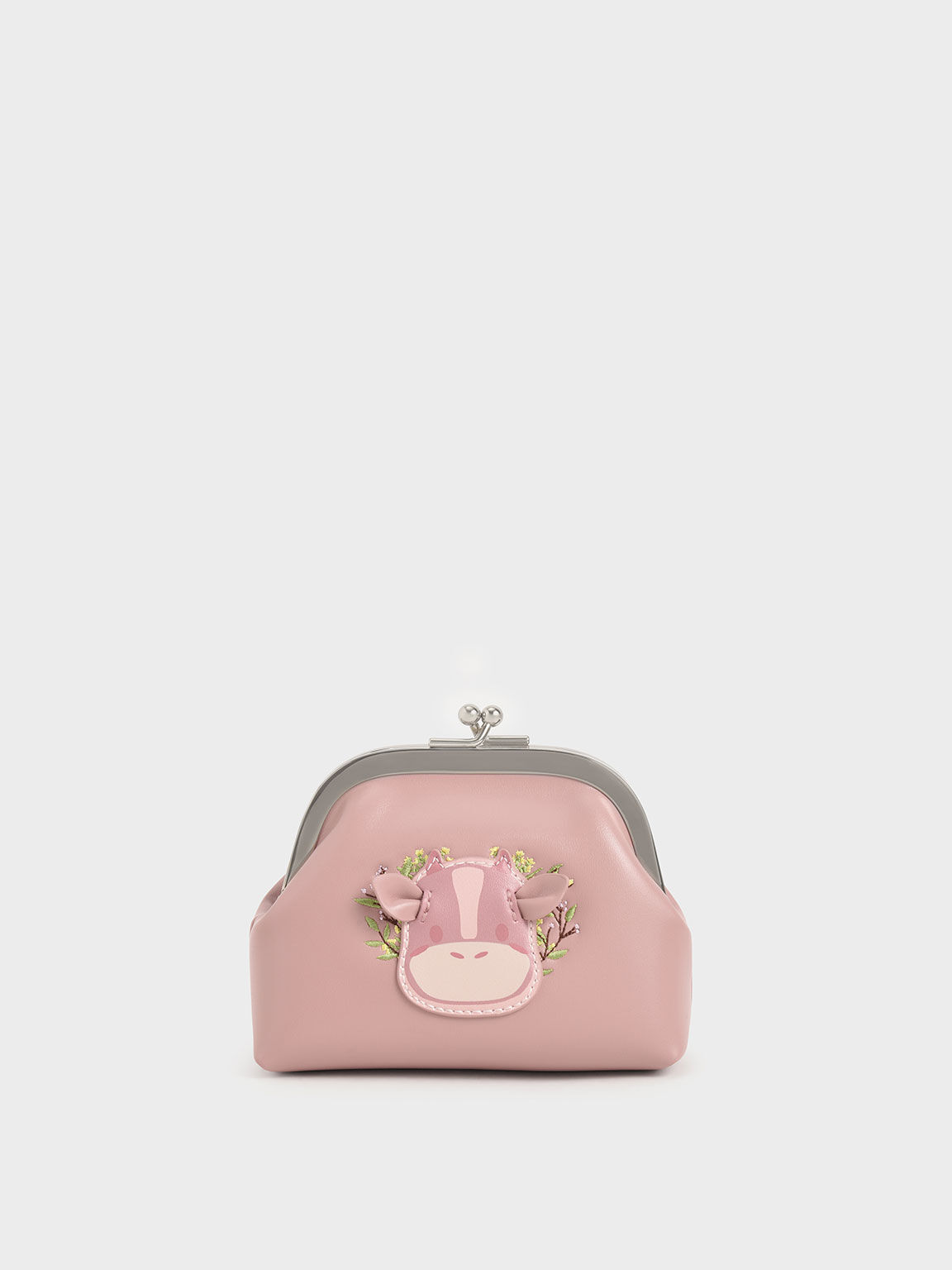 Girls' Cow Motif Pouch, Pink, hi-res