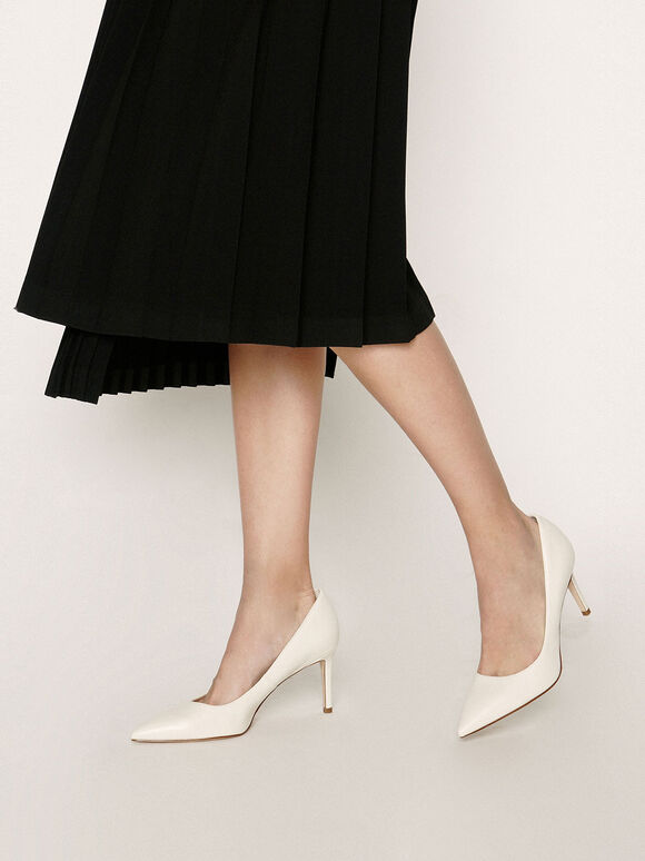 Pointed Toe Stiletto Heel Pumps, Chalk, hi-res