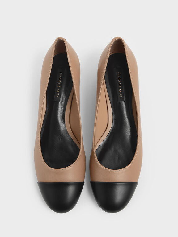 Two-Tone Round Toe Curved Block Heel Pumps, Nude