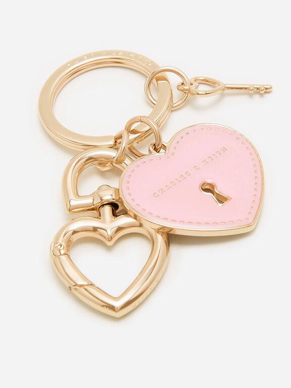 Heart Lock Keychain, Pink, hi-res
