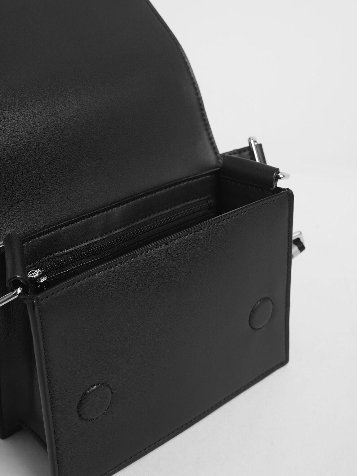 Striped Top Handle Crossbody Bag, Black, hi-res