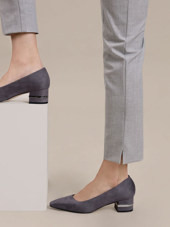 Metallic Accent Heel Pumps, Grey