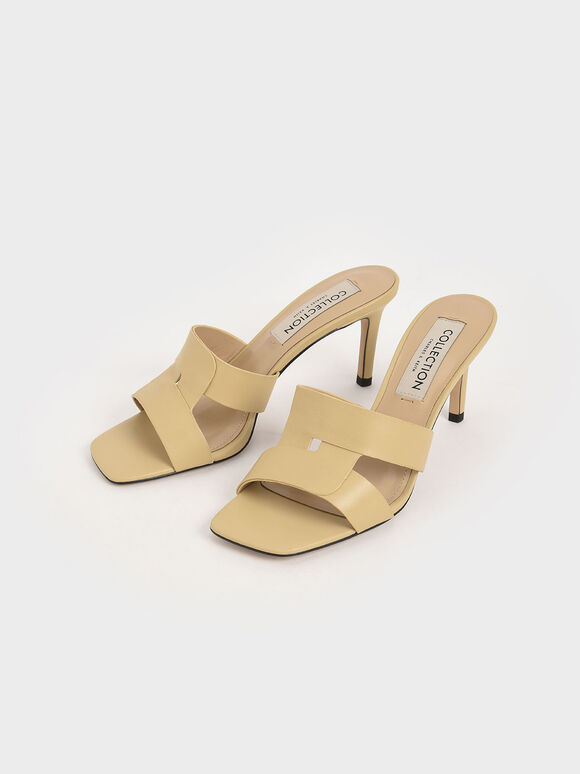 Leather Cut-Out Stiletto Mules, Beige, hi-res