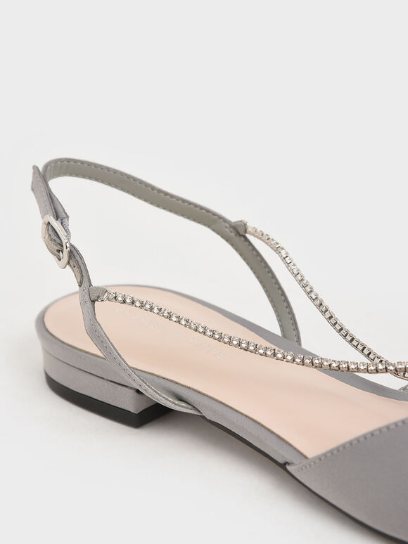 Satin Gem-Embellished Slingback Flats, Light Blue, hi-res