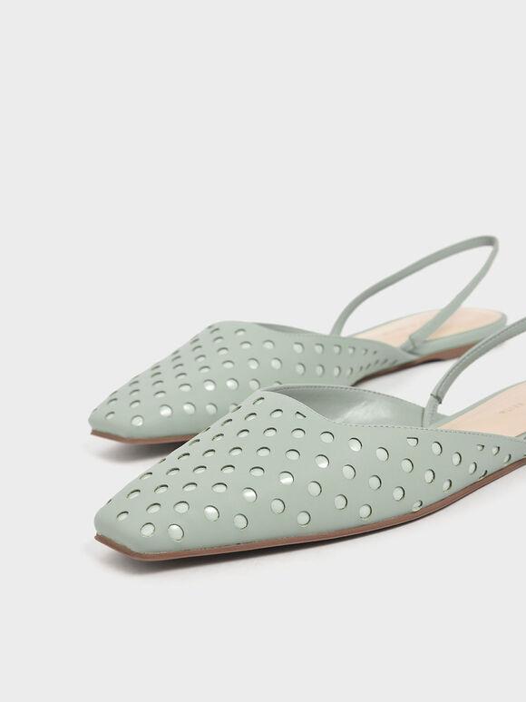 點點平底鞋, 灰綠色, hi-res