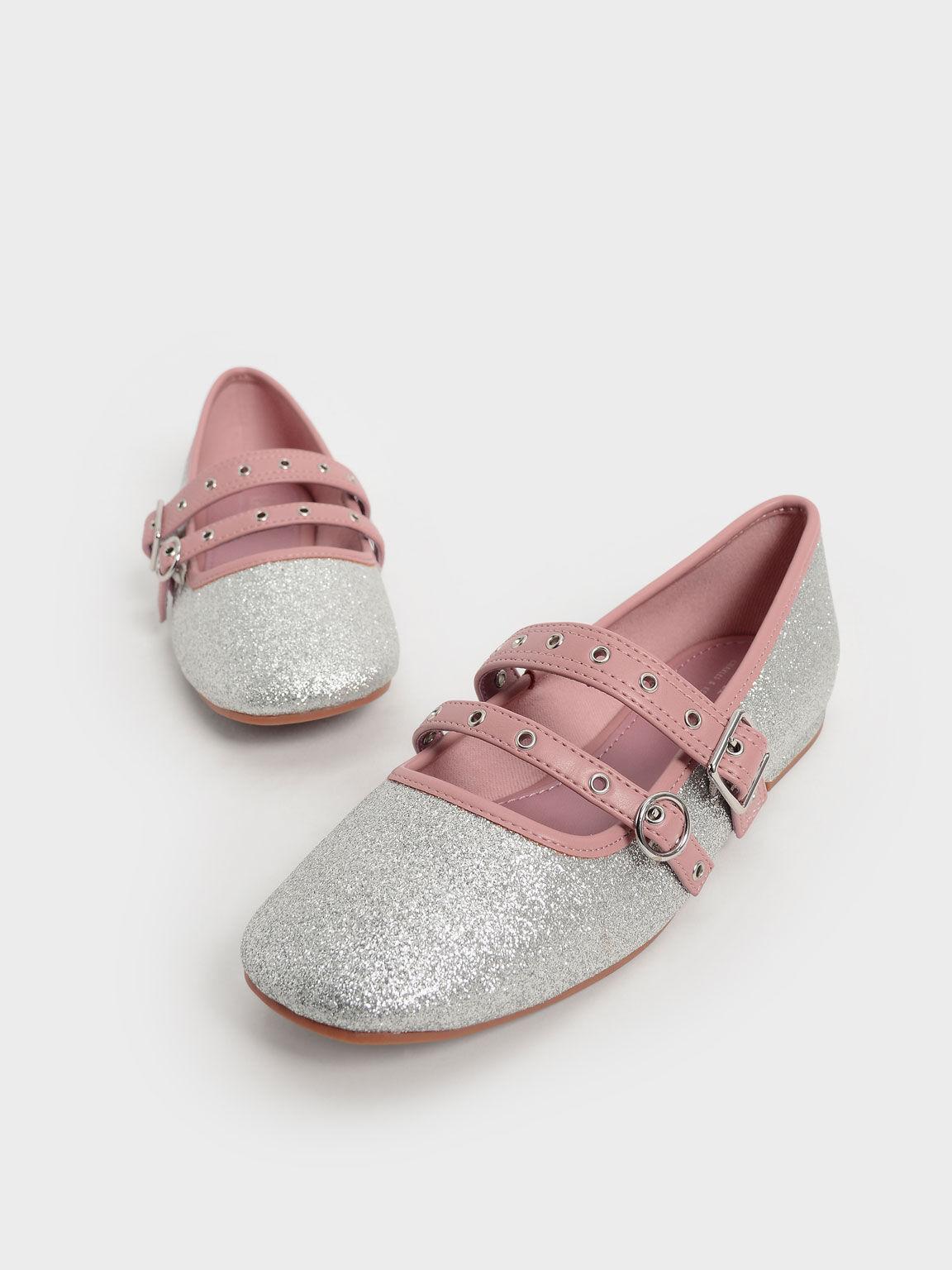 Girls' Glitter Grommet Strap Mary Janes, Silver, hi-res