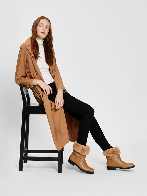 Furry Cuff Buckled Boots, Cognac