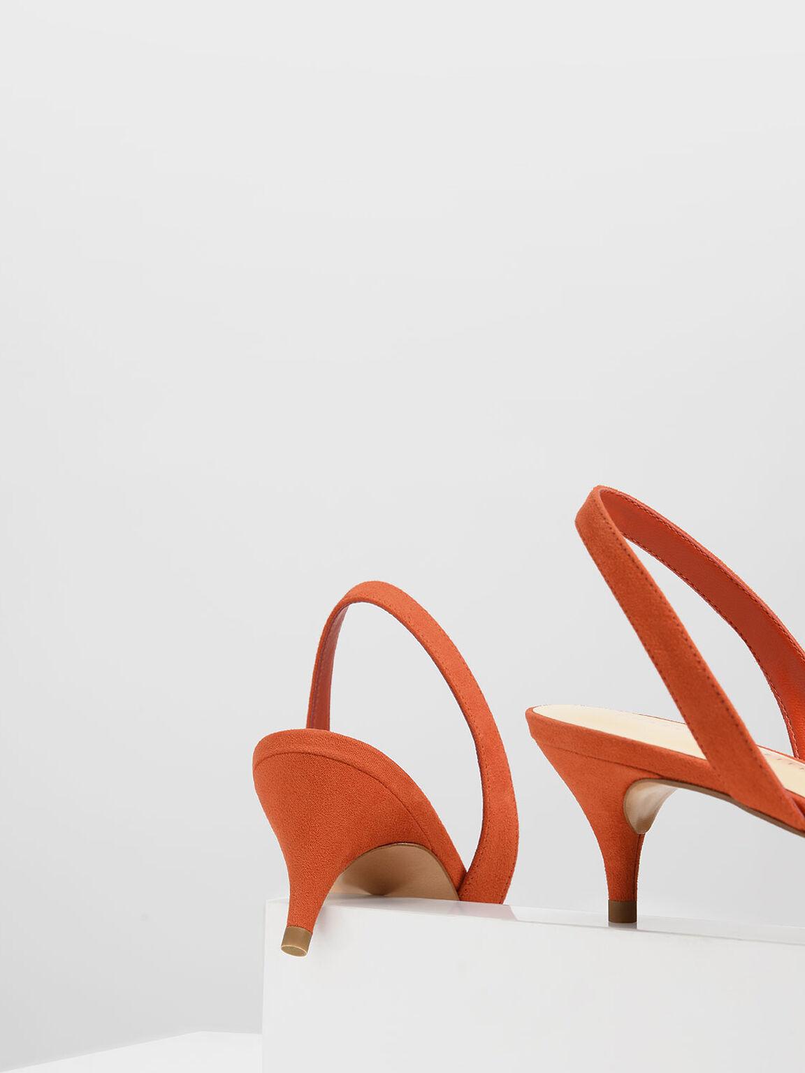Open Toe Slingback Kitten Heels, Red, hi-res