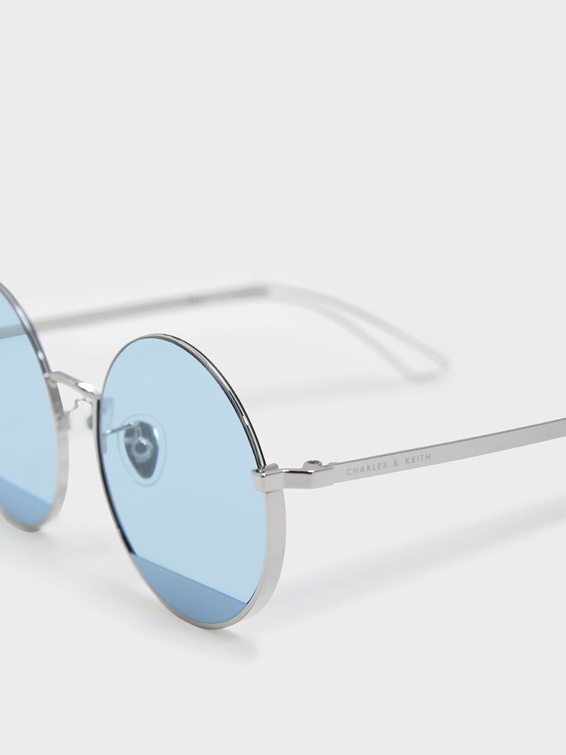 Round Half Frame Sunglasses, Blue, hi-res