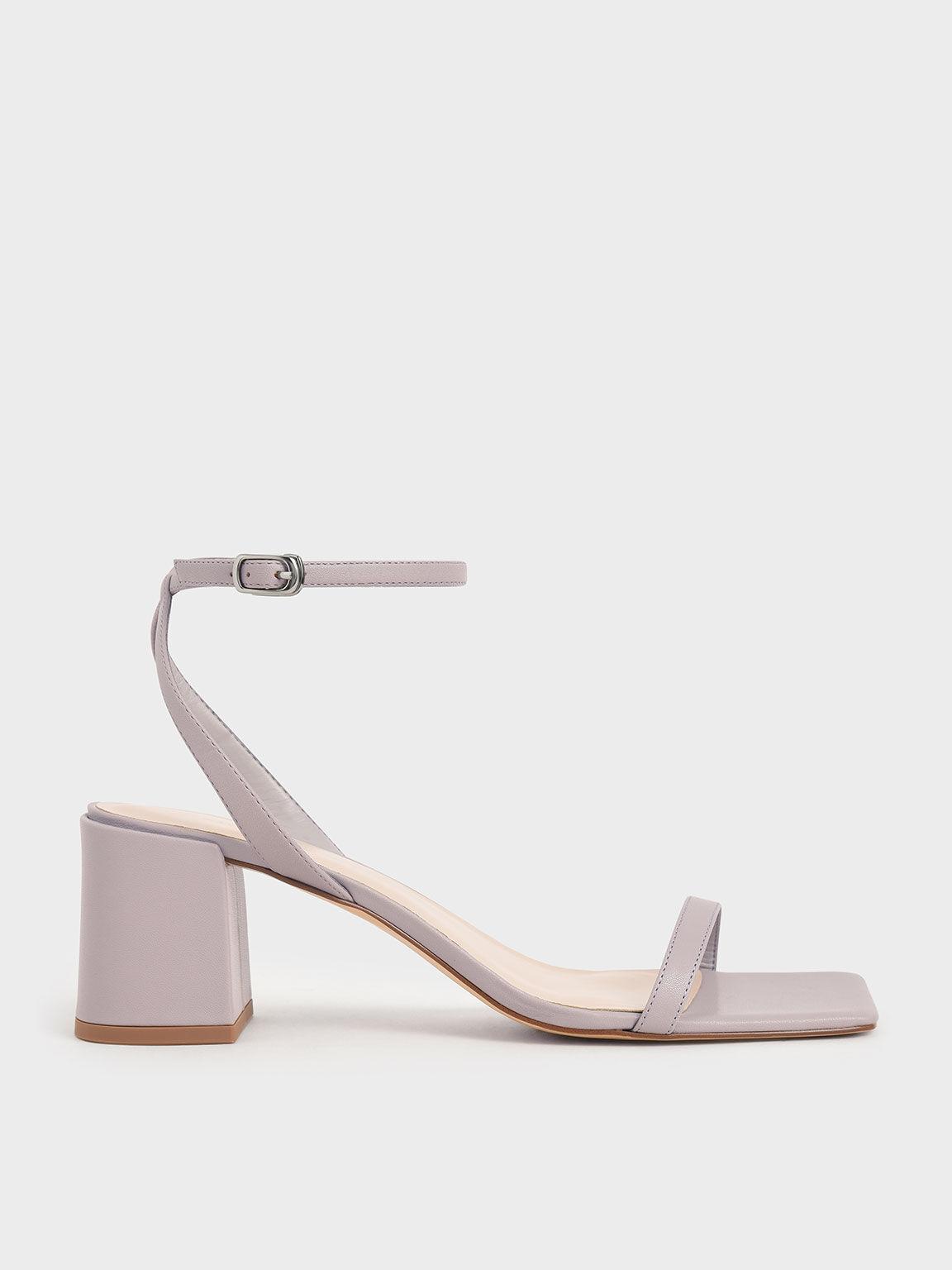 Ankle Strap Block Heel Sandals, Lilac, hi-res