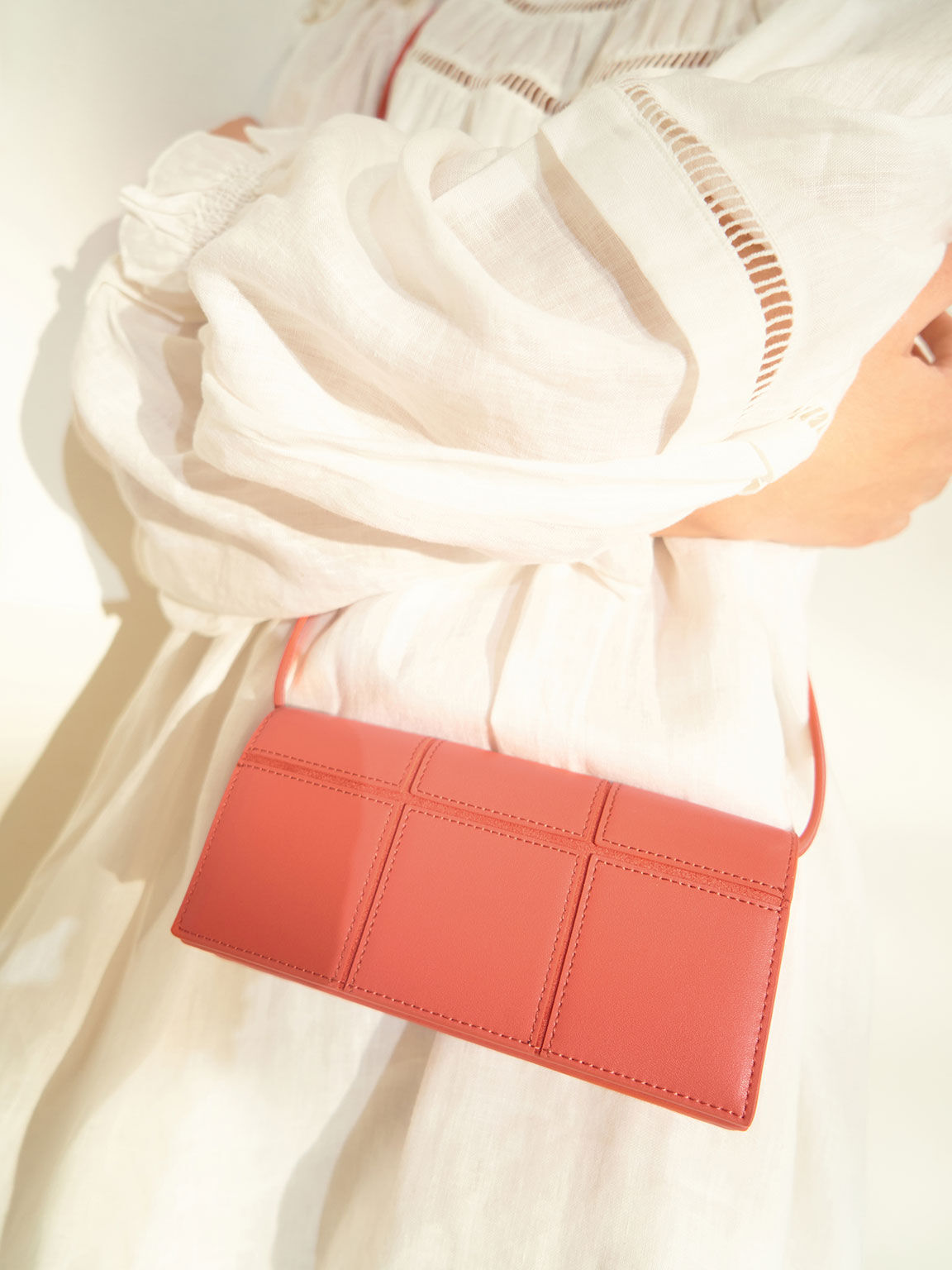 Panelled Long Wallet, Coral, hi-res