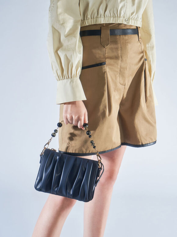 Beaded Strap Ruched Shoulder Bag, Navy, hi-res