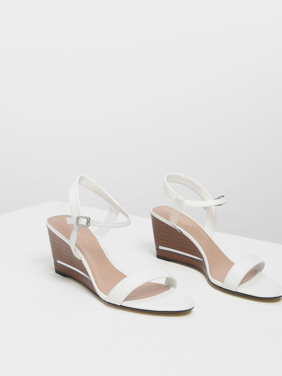 Clear Strap Wooden Wedges, White, hi-res