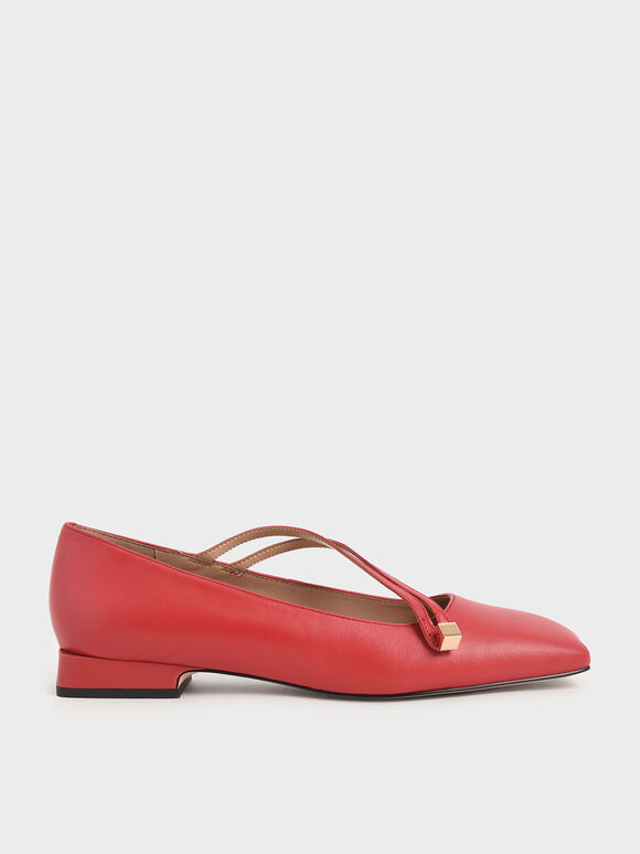 Leather Asymmetric Strap Ballerina Flats, Red, hi-res