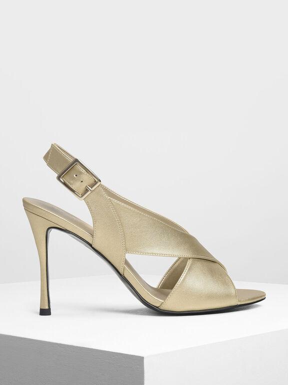 Crossband Slingback Heeled Sandals, Gold
