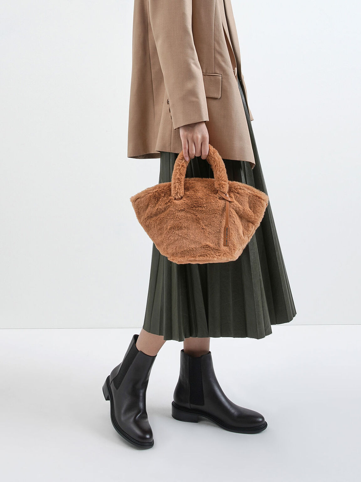 Textured Trapeze Bag, Tan, hi-res