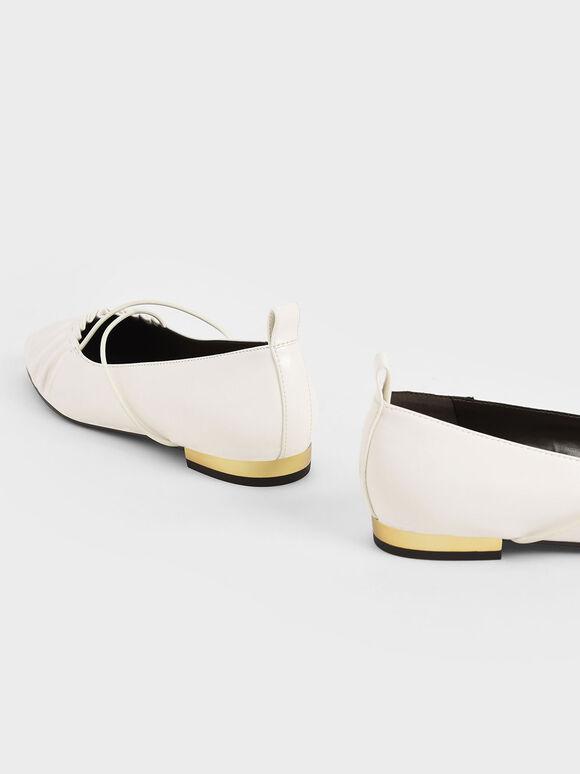 Criss-Cross Ruched Ballerina Flats, White, hi-res