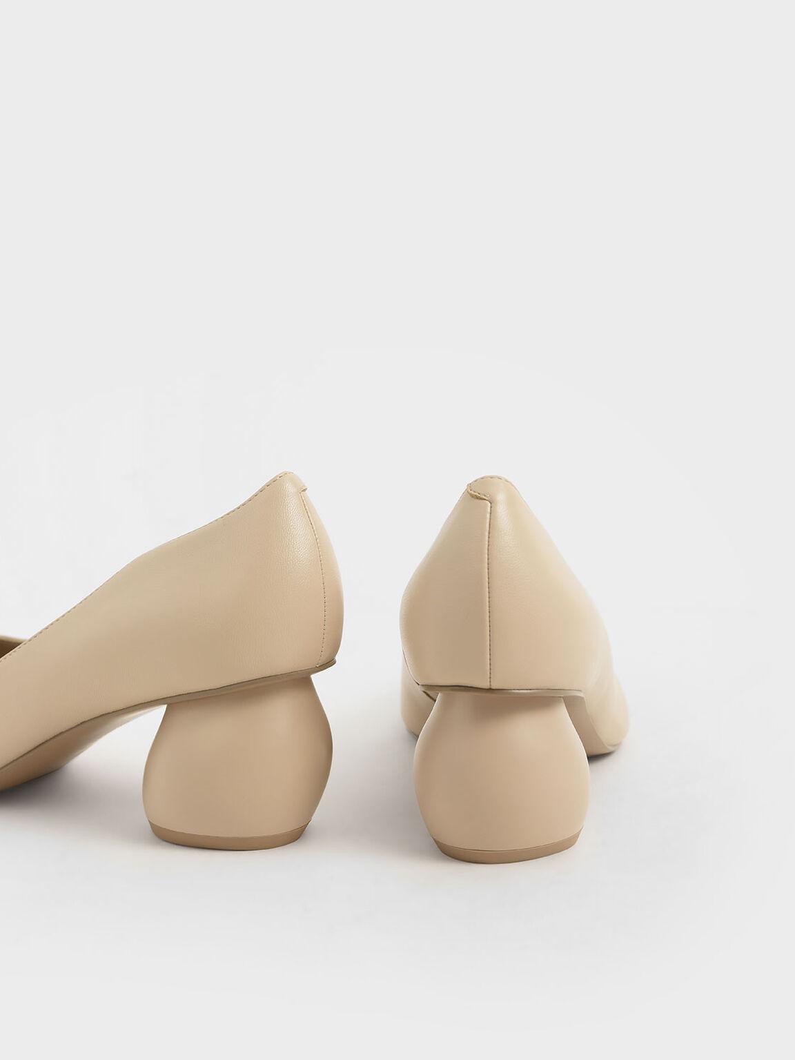 Sculptural Heel Pumps, Beige, hi-res