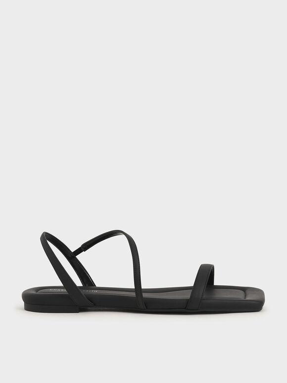 Strappy Flat Sandals, Black, hi-res