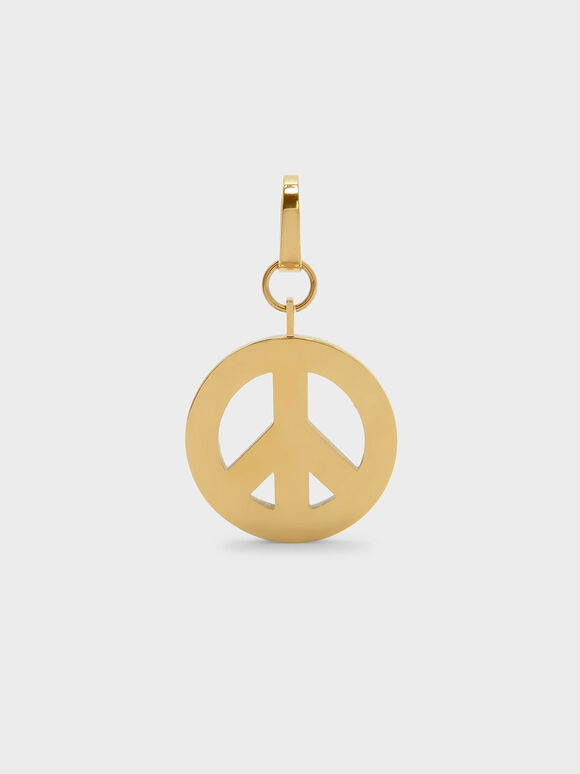 Gold Peace Symbol Keychain, Gold, hi-res
