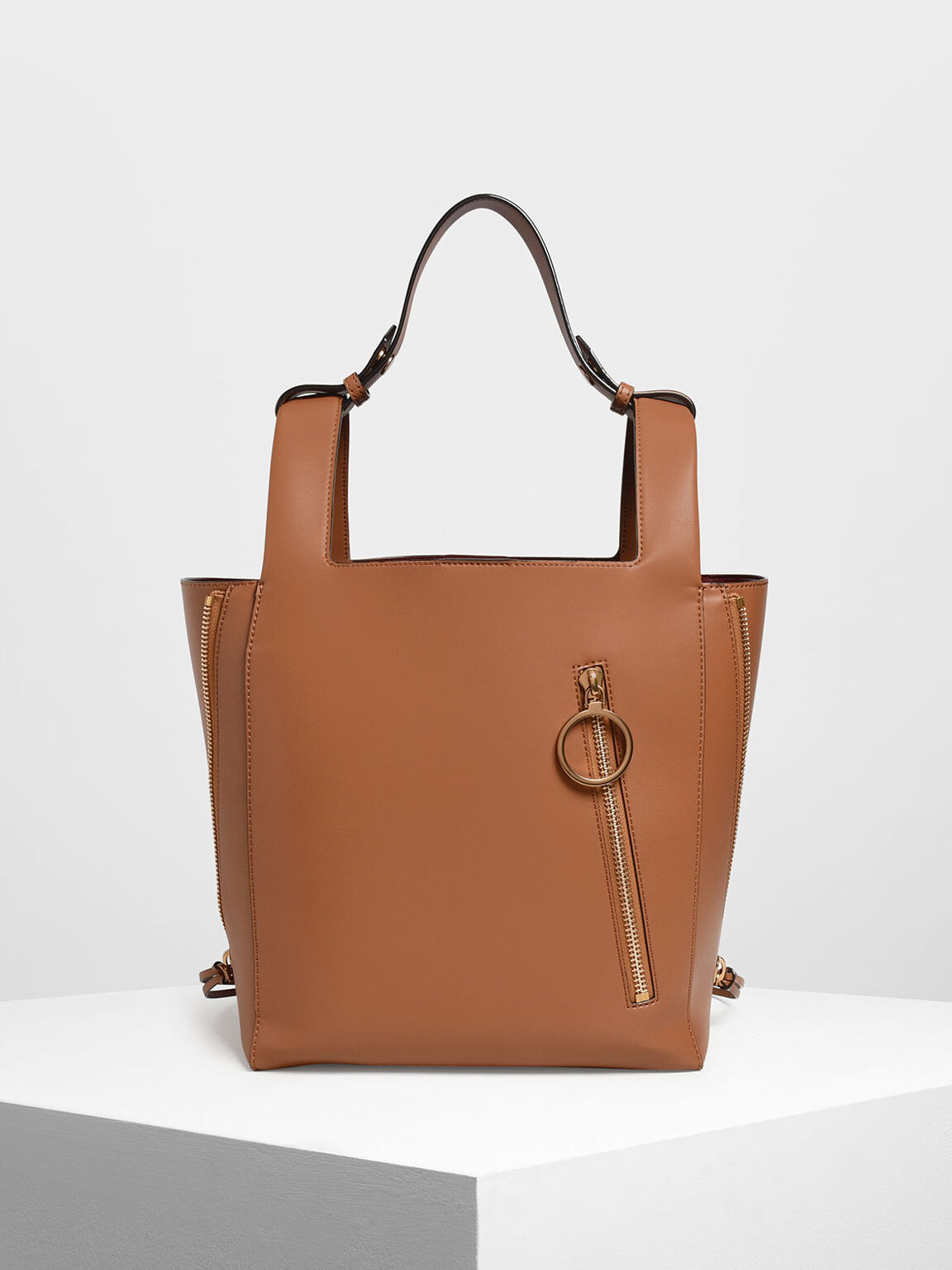 Ring Zip Pocket Square Handle Large Tote, Tan, hi-res