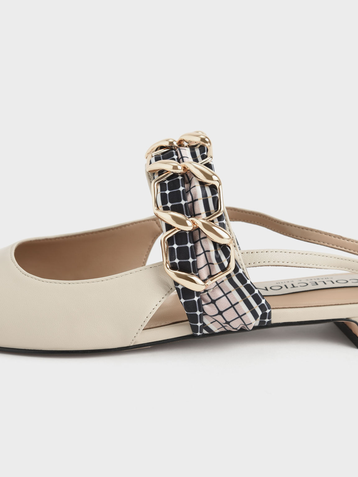 Printed Fabric Scarf Leather Ballet Pumps, Chalk, hi-res
