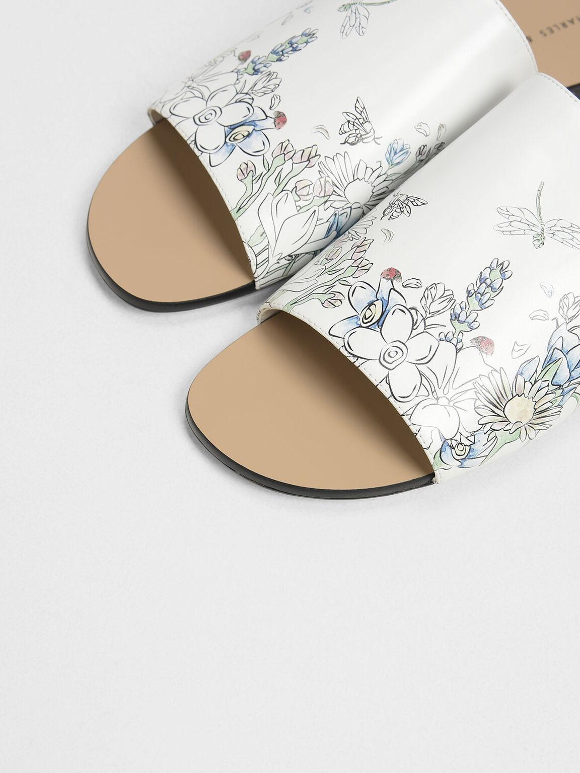 Garden Print Sliders, White, hi-res