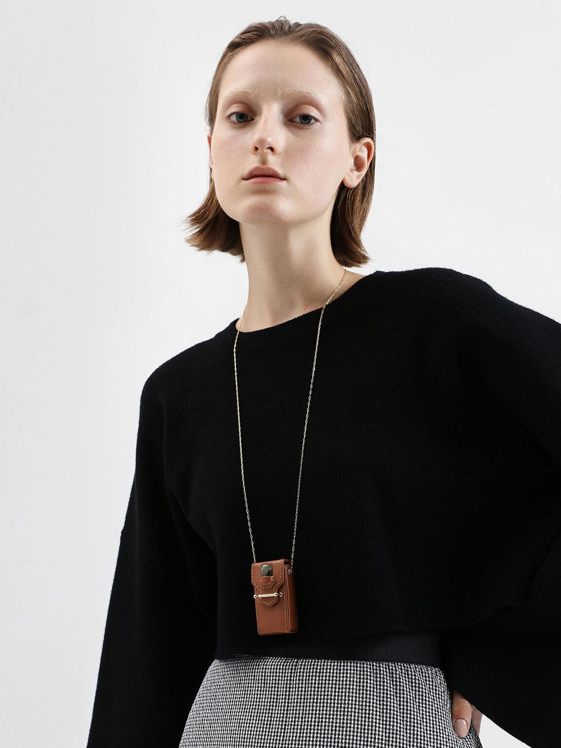 Labradorite Stone Opera Necklace Bag, Brown, hi-res