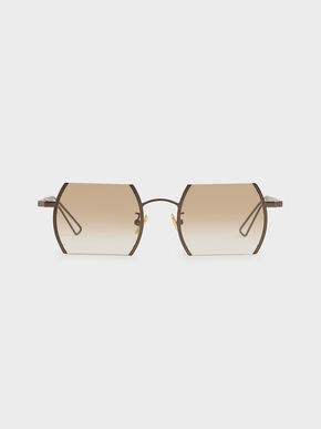 Cut-Off Frame Round Sunglasses, Brown