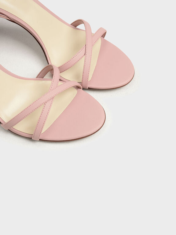 Criss Cross Sculptural Heel Sandals, Nude