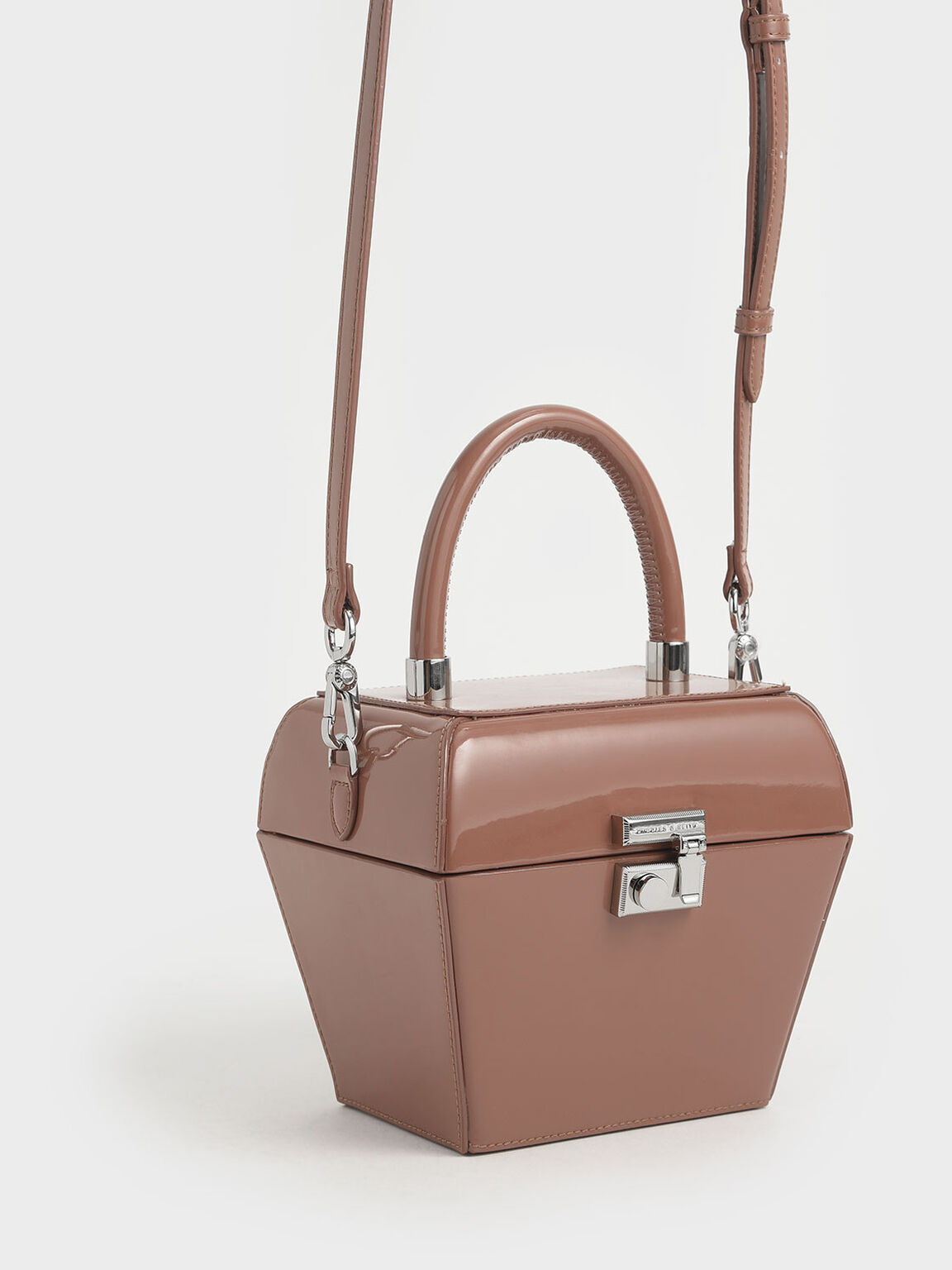 Patent Sculptural Top Handle Bag, Nude, hi-res