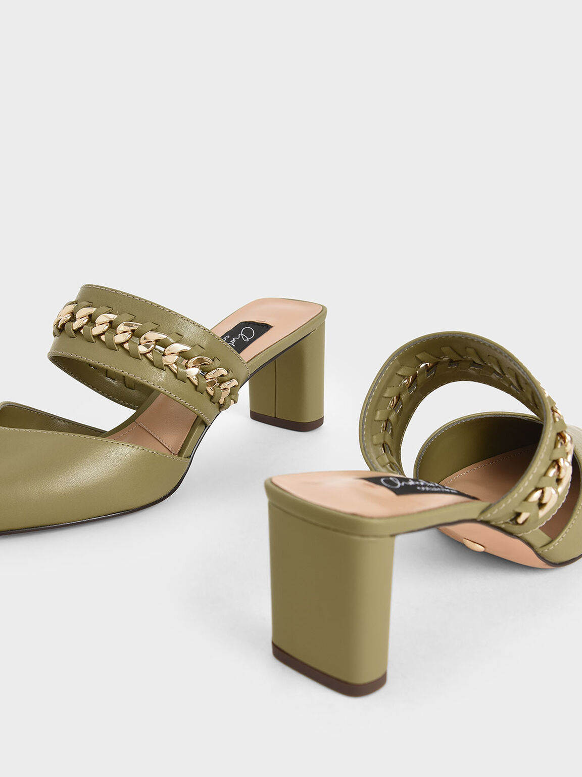 Leather Chain-Link Mules, Military Green, hi-res
