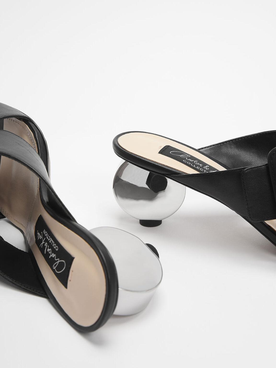 Sculptural Heel Leather Slide Sandals, Black, hi-res
