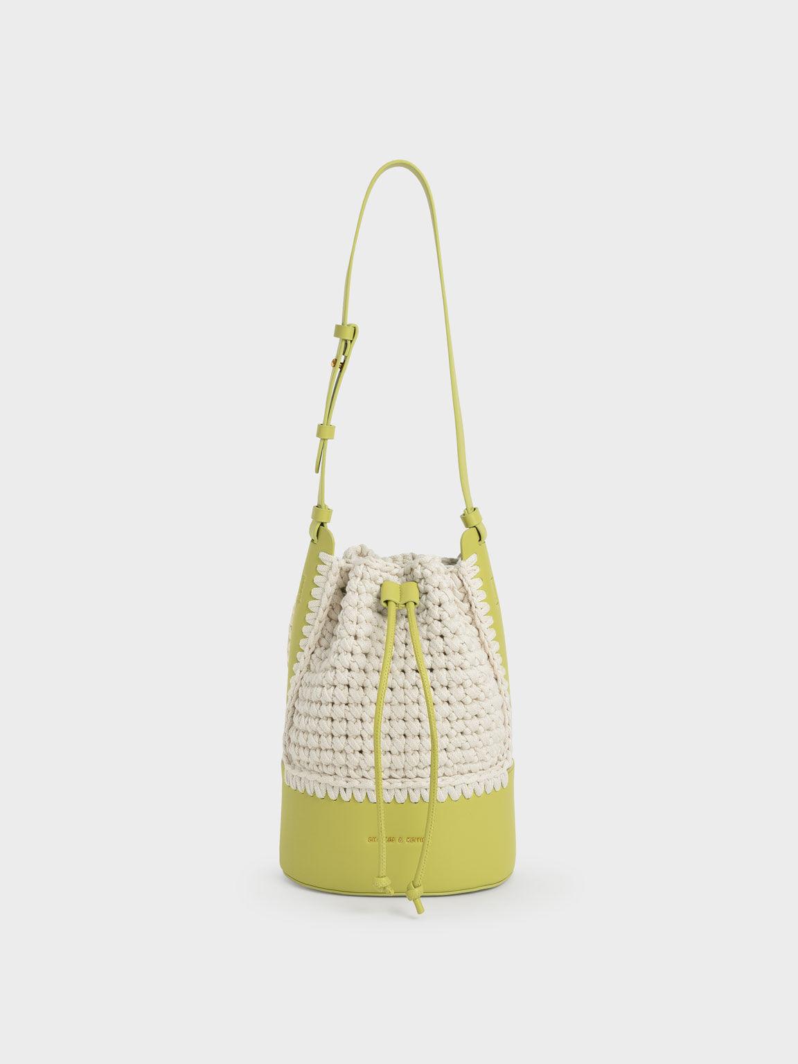Crochet Drawstring Bucket Bag, Olive, hi-res