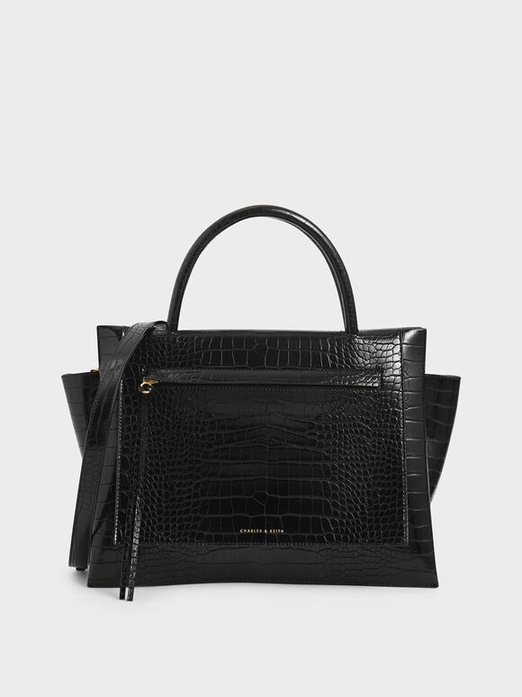 Large Croc-Effect Trapeze Handbag, Black, hi-res