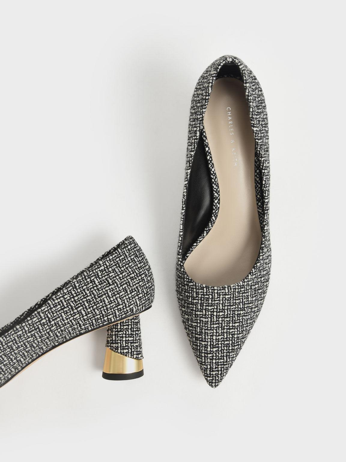 Metallic Sculptural Heel Tweed Pumps, Multi, hi-res