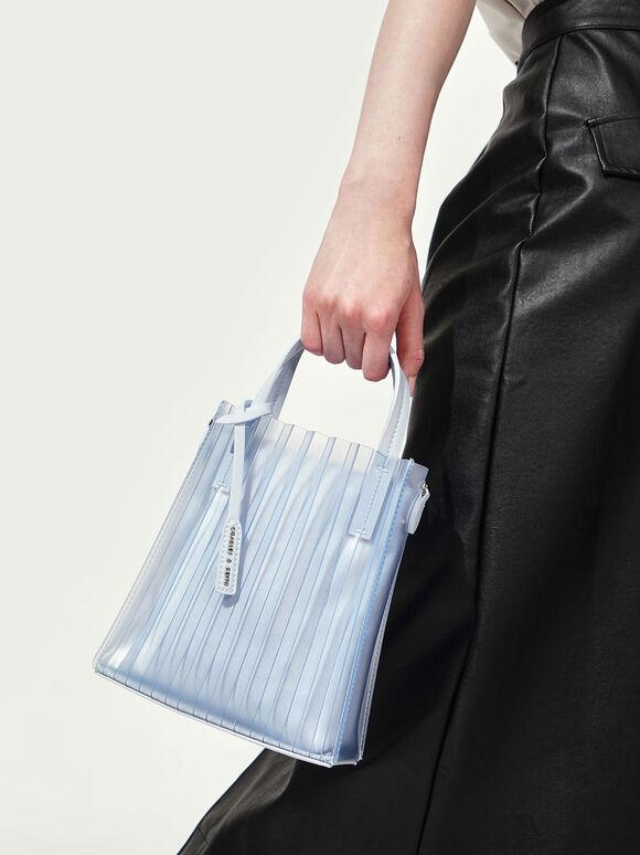 Translucent Pleated Tote Bag, Light Blue, hi-res