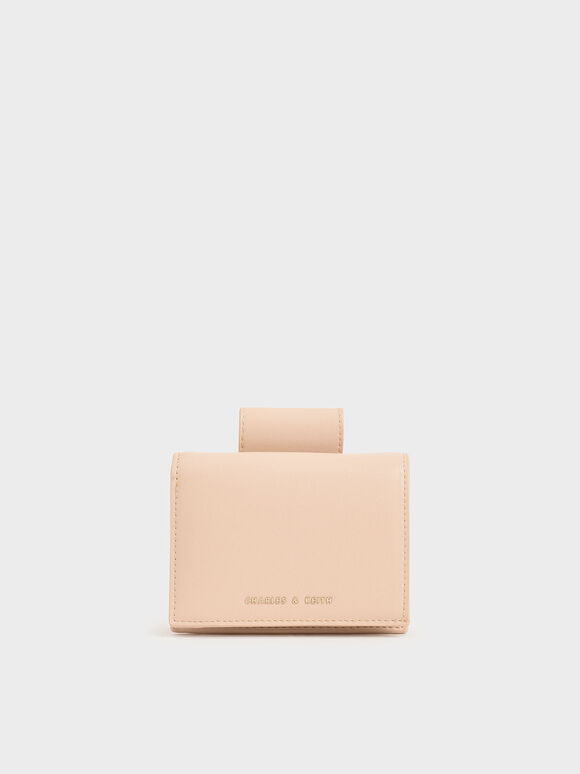 Top Tab Snap Button Wallet, Nude, hi-res