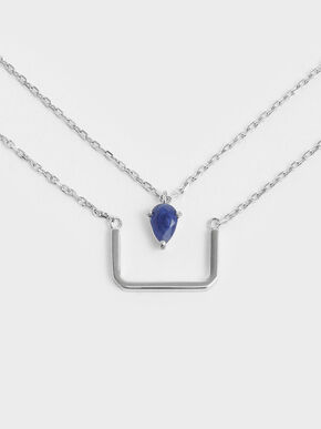 Sodalite Stone Layered Matinee Necklace, Silver