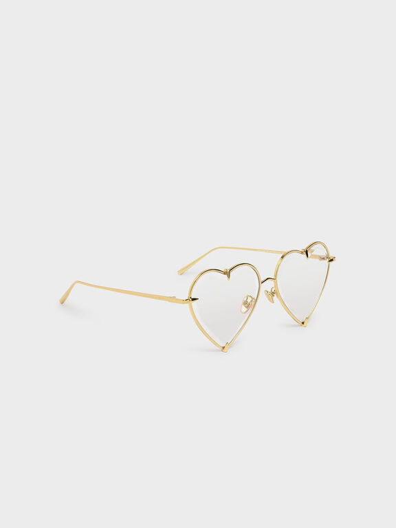 Thin Metal Frame Heart-Shaped Sunglasses, White