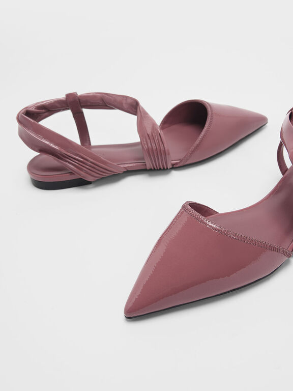 Ruched Strap Covered Flats, Pink, hi-res
