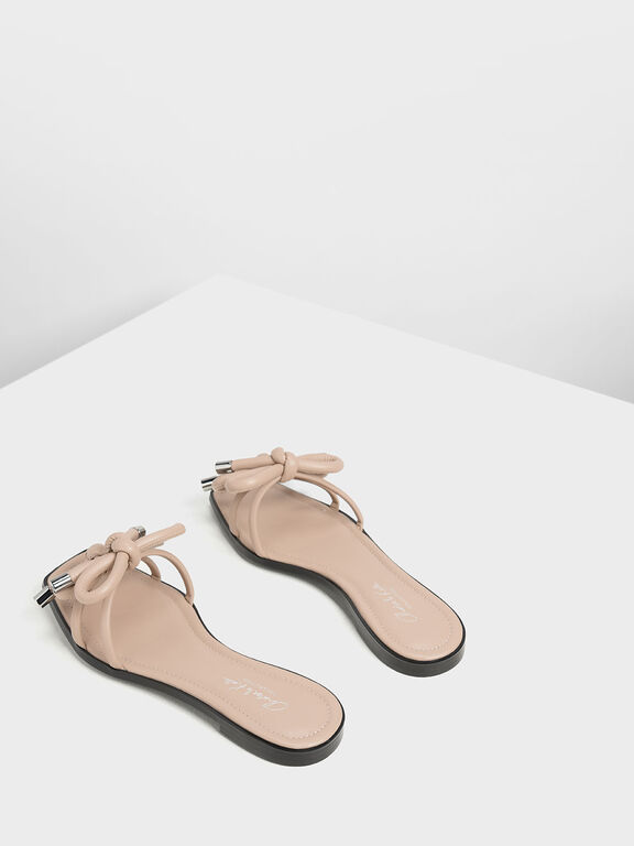 Double Bow Slide Sandals, Nude