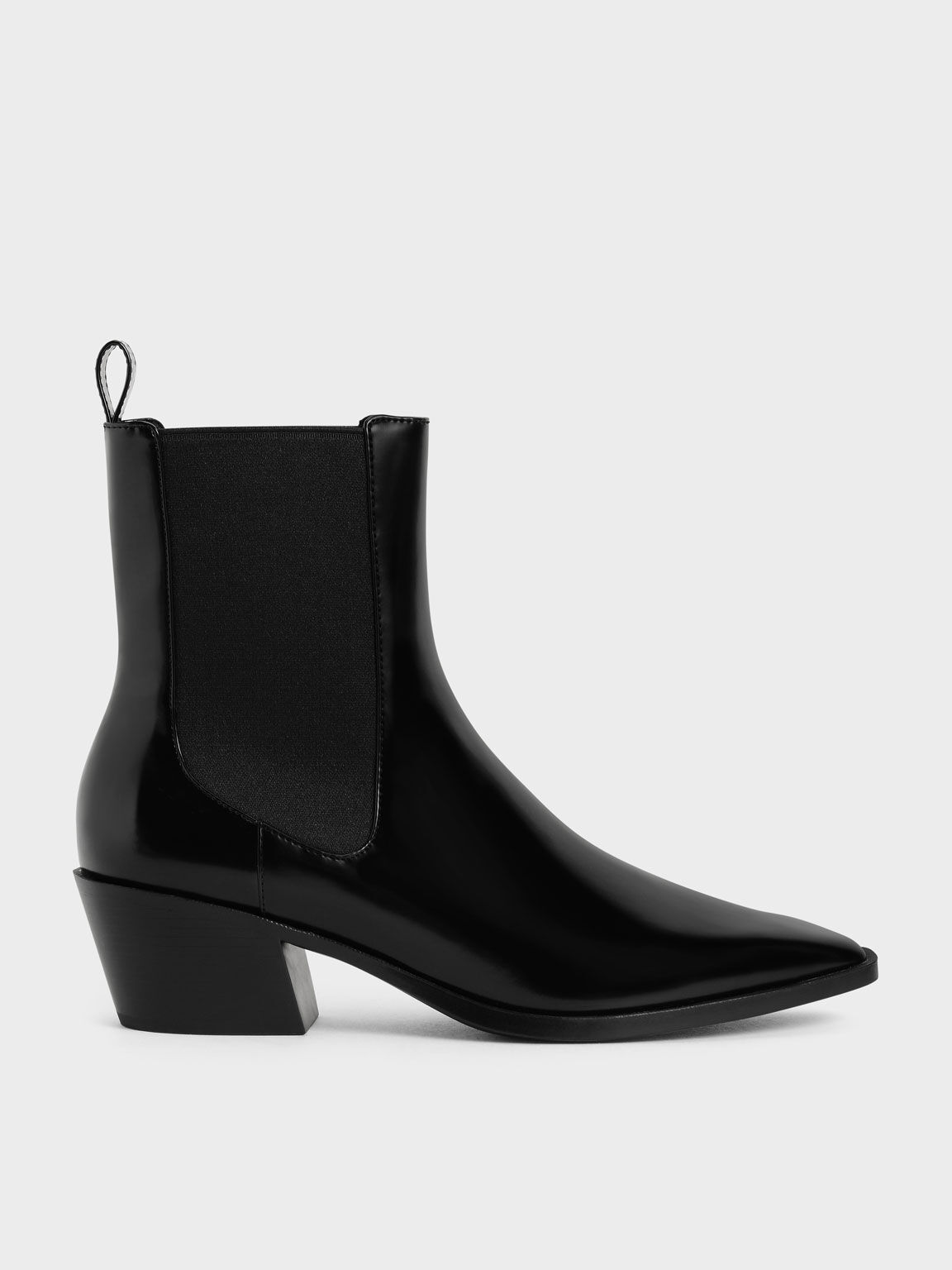 Slanted Heel Chelsea Boots, Black, hi-res