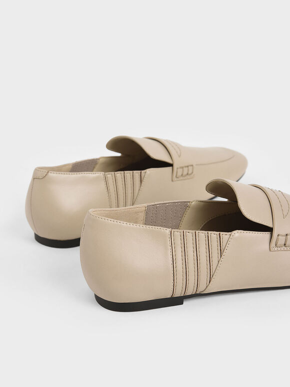 Stitch-Trim Penny Loafers, Beige, hi-res