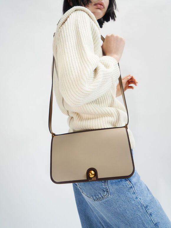Metallic Push-Lock Shoulder Bag, Taupe, hi-res