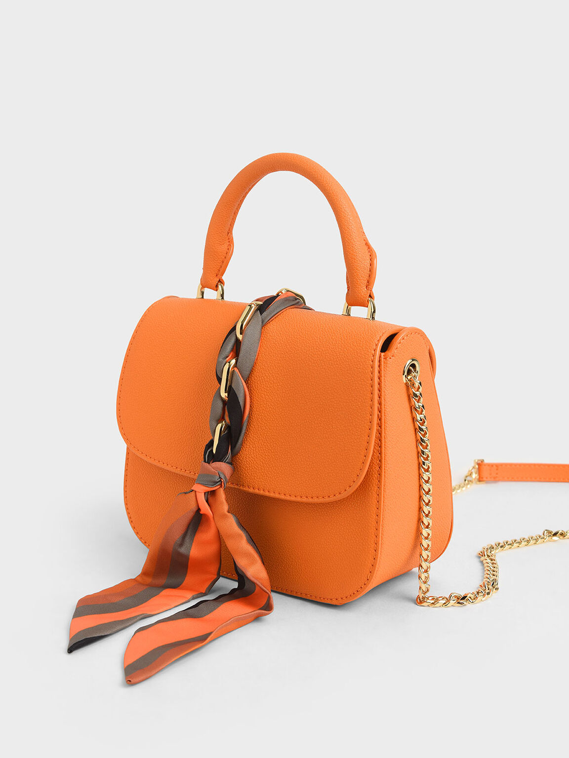 絲巾掀蓋手提包, 橘色, hi-res
